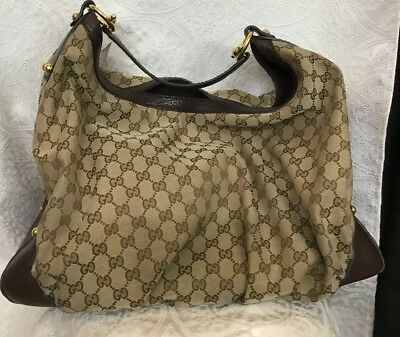 9cf3b08974a Gucci Purse Brown Print Jockey Hobo Bag Canvas And Leather Gold Hardware  Size XL • 795.00