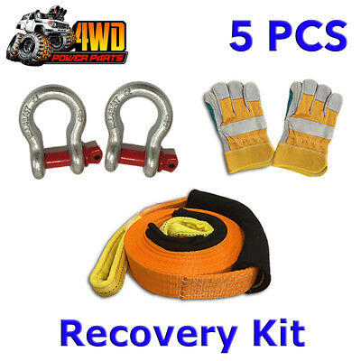 AU59.50 • Buy 5 Piece Winch Recovery Kit Snatch Strap Bow Shackles Gloves 4WD Off Road Tow 4x4