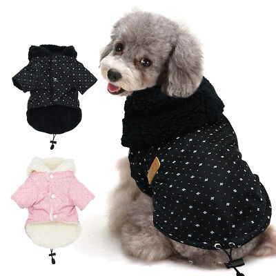 £6.91 • Buy Winter Warm Small Dog Coat Chihuahua Clothes Fleece Lined Jacket Hoodie For Pet
