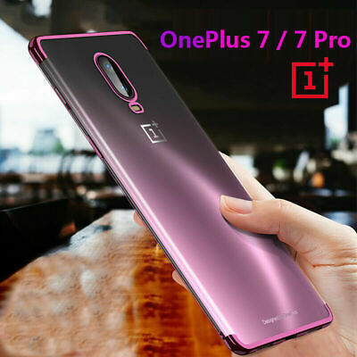 AU1.79 • Buy For One Plus 7 7T Pro 6T 6 5T Plating Clear Case Electroplate Soft Rubber Cover