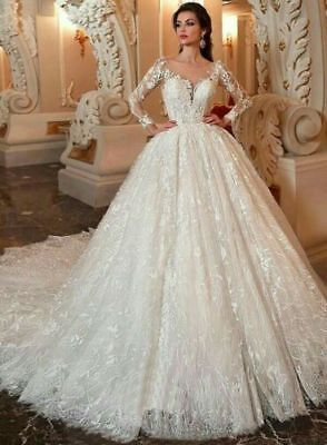 $ CDN222.98 • Buy Luxury Full Lace Ball Wedding Dresses Scoop Neck Long Sleeve Train Bridal Gown