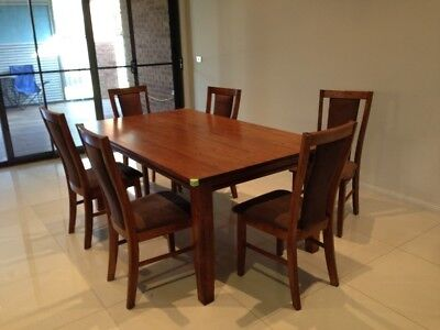 AU750 • Buy Hardwood Dining Table With 6 Seater Dark Brown Color