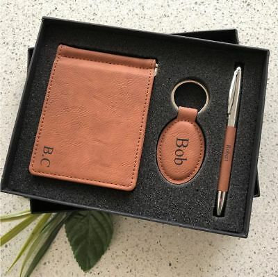 AU52 • Buy Valentine's Day Personalised Leatherette Gift Set Keyring Pen Engraved For Him