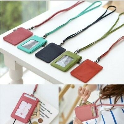 Leather ID Badge Money Coin Lanyard Necklace Clear Holder Zip Case Card Wallet • 17.39£