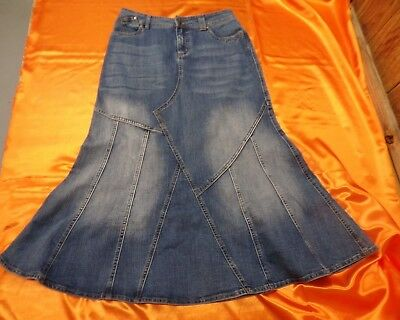 e1a1490652 L.A. BLUES Blue Jean Mermaid Skirt ~ Flared Modest No Slit Long Ladies Size  8 •