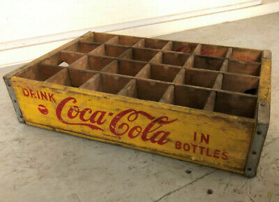 Vintage Wooden Crate Coca Cola In Yellow  100% Original In Natural Wood • 75£