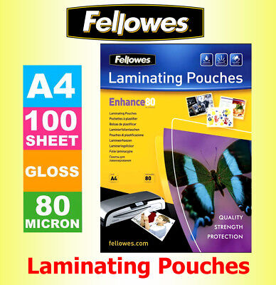 100 X Fellowes A4 Laminating Pouches/ Sheets/ Sleeves 80 Microns Gloss   • 9.95£