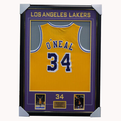 AU1195 • Buy Shaquille O'Neal Signed Los Angeles Lakers NBA Jersey Framed - NBA Champion