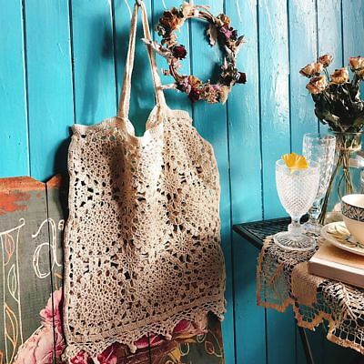 AU21.38 • Buy Vintage Style Hand Crochet Floral Tassel Cotton Tote Shopping Bag Beige L New
