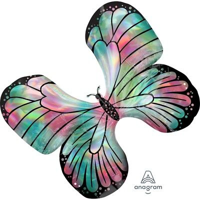 AU11.25 • Buy Party Supplies Girls Birthday Butterfly Teal Iridescent Jumbo Shape Foil Balloon