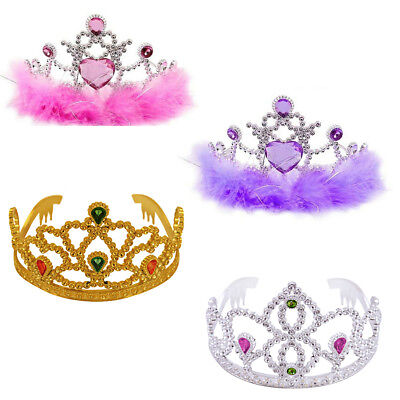 Girls Birthday Party Fancy Dress Silver Gold Tiara Crown Plastic Pink Fur Trim  • 5.69£