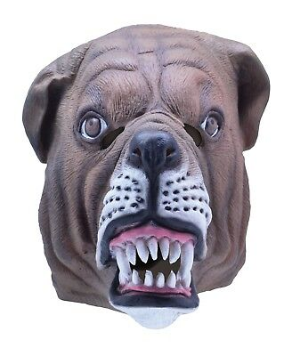 Masquerade Carnival Party  Rubber Animal Canine Bulldog Overhead Mask New • 10£