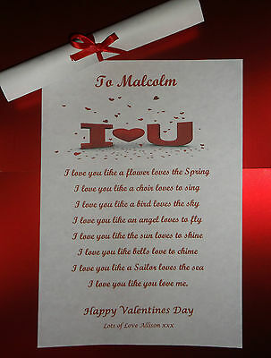 AU4.61 • Buy Valentines Day Gift Poem To Boyfriend Girlfriend Wife For Him Her Personalised