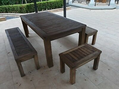 AU2500 • Buy Teak Outdoor Setting Table 4x Benches A Grade Hand Made, A Month Old Still New