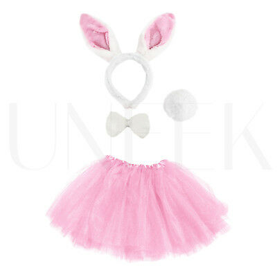 Kids Easter Bunny Rabbit Fancy Dress Costume W/ Ears, Bow, Tail & Pink Tutu Set • 6.54£