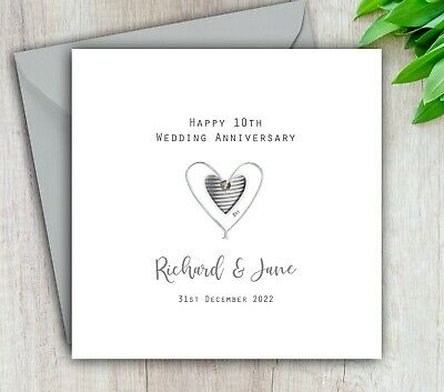 Personalised Handmade 10th Wedding Anniversary Card Tin - Mum Dad Husband Wife • 4.95£