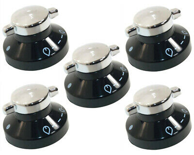 5 X Oven Gas Control Knobs Hob Cooker Switch Chrome Black Silver For New World • 23.99£