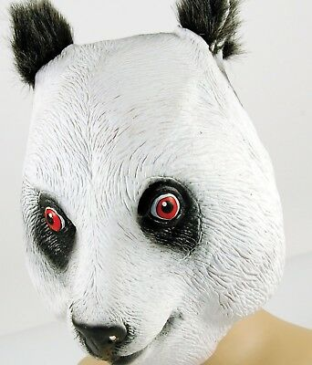 Masquerade Party Unisex Rubber Animal Black & White Panda Overhead Mask New • 7£