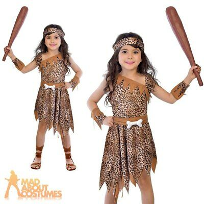 Kids Cave Girl Costume Childs Stone Age Caveman Book Day Girls Fancy Dress • 10.29£