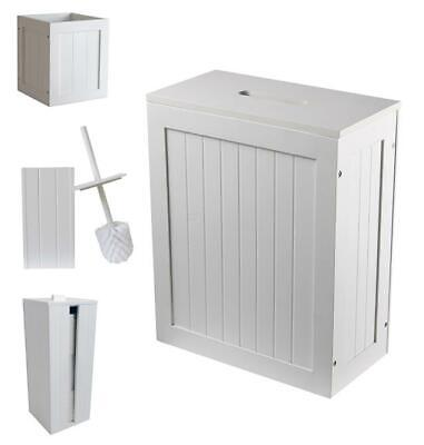 White Wooden Storage Bathroom Box Shaker Toilet Roll Brush Bin Holder • 11.99£
