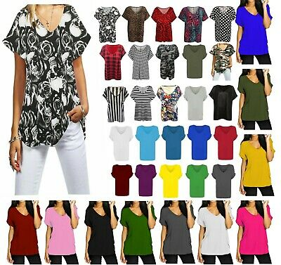 £7.99 • Buy New Womens Turn Up Short Sleeve Plain Printed V Neck Loose Baggy Fit T-Shirt Top