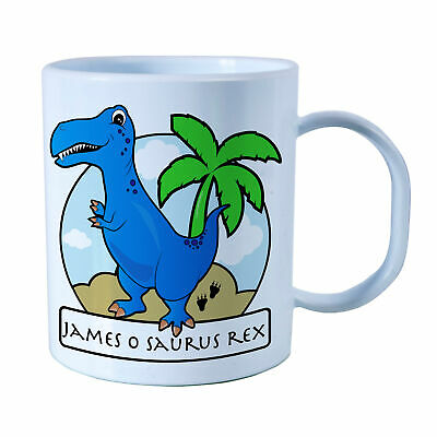 Personalised Blue T-Rex Plastic Mug Children's Birthday Gift Juice Cup Any Name • 10.99£