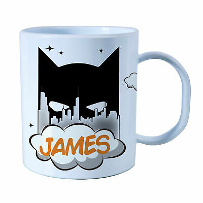 Personalised Bat City Plastic Mug Children's Birthday Gift Juice Cup Any Name • 10.99£