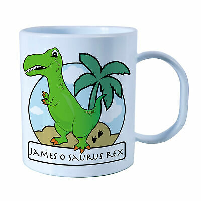 Personalised Green T-Rex Plastic Mug Children's Birthday Gift Juice Cup Any Name • 10.99£