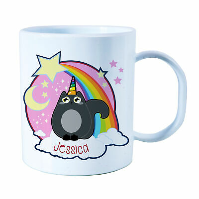 Personalised UNI-CAT Plastic Mug Children's Birthday Gift Juice Cup Any Name • 10.99£