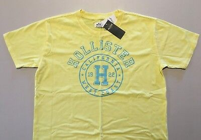 AU19.95 • Buy Abercrombie & Fitch HOLLISTER T-SHIRT Womens Yellow Logo Tee Top Size L NWT