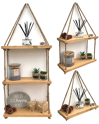 Rustic Wooden Hanging Rope Shelf - Handmade Solid Natural Wood Floating Shelves • 18.95£
