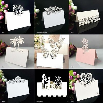 Place Wedding Table Cards Name Party Card Laser Cut Heart Flower 50pcs  • 7.50£