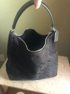 261d5efc3e4c COACH Large Black CARLY Signature Jacquard Leather Hobo Bucket Purse Bag  10620 • 20.50