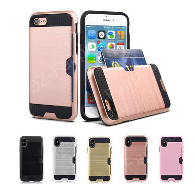 AU6.99 • Buy IPhone 6 7 8 Plus XS XR Max Credit Card Slot Holder Shockproof Hard Case Cover