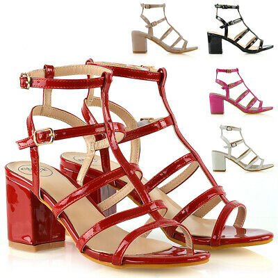 £19.99 • Buy Womens Strappy Ankle Strap Sandals Ladies Block Mid Low Heel Party Shoes Size