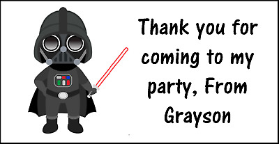 £1.99 • Buy Personalised 48 Star Wars Darth Vader Thank You Stickers Party Bag Sweet Cone
