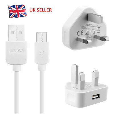 £2.83 • Buy UK Mains Charger Plug + Micro USB Data Sync Cable For Samsung LG Android Phones