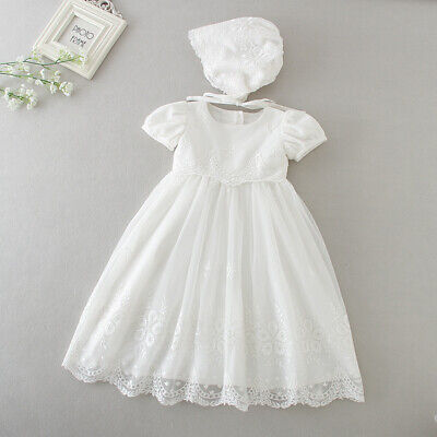 £23.99 • Buy Baby Embroidery Lace Baptism Dress Floral Christening Birthday Party Gown Bonnet