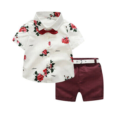 £10.59 • Buy Toddler Baby Boy Gentleman Suit Rose Bow Tie T-Shirt Shorts Pants Outfit Set