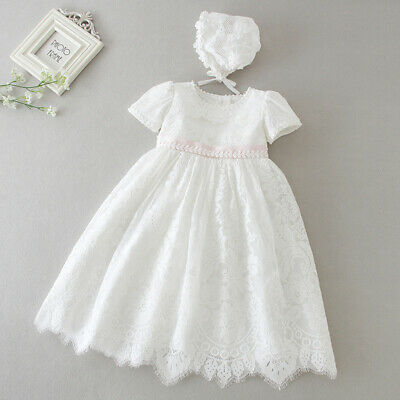 £23.99 • Buy Vintage Baby Girl Baptism Dress Bonnet Floral Embroidery Christening Lace Gown