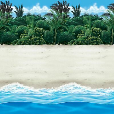 40ft Hawaiian Party Luau Garden Beach Sand Sea Room Roll Wall Scene Decoration • 13.19£
