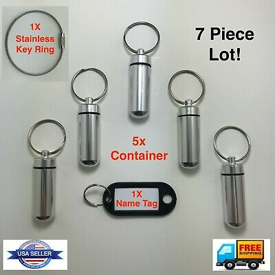 Waterproof Pill Case Keychain Aluminum Box Bottle Container Drug Holder 7 Pc Lot • 6.69$