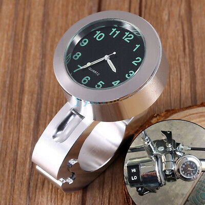 $18.14 • Buy Silver Waterproof Motorcycle Bicycle Handlebar 7/8 -1  Mount Dial Clock Watch