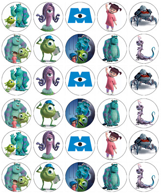 Monsters Inc Mike Sully X30 Cupcake Toppers Edible Wafer Paper Fairy Cake Topper • 1.65£