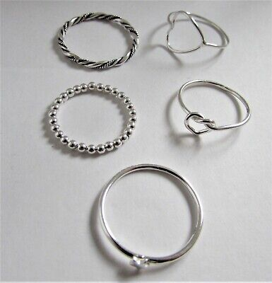 925 Sterling Silver Mixed Ladies Love Knot Open Heart Star Rope Rings Sizes J-R • 5.50£