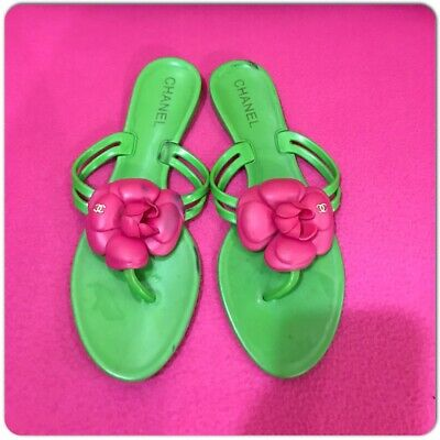 bbe3af733ea5f Chanel Jelly Light Green Sandals Flip Flops Pink Camellia Flower Size 39  270 00. Chanel Jelly Sandals Pare S On Dealsan