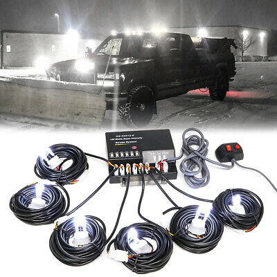 $69.88 • Buy 120W 6 LED HID Bulbs White Hide-a-way Emergency Warning Strobe Light System Kit
