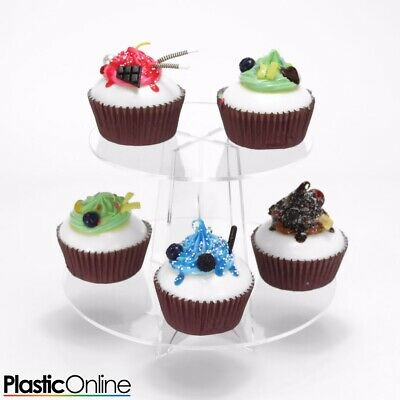 £11.50 • Buy Cupcake Stand 2 Tier Round Clear Acrylic Perspex Tower Weddings & Party Display