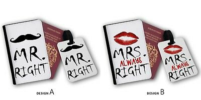 £26.99 • Buy Mr Right Mrs Always Right Funny Girl Power Travel Passport Cover & Luggage Tags
