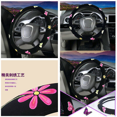 $17.57 • Buy 38cm Embroidery Car Truck Steering Wheel Covers Hub Accessories For Women Girl